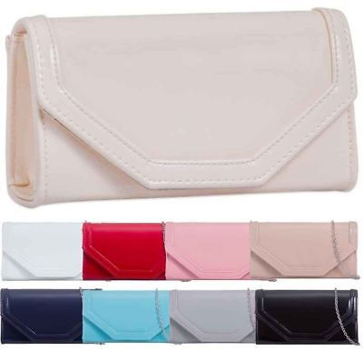 Ladies Patent Leather Silver Shoulder Chain Evening Prom Clutch Bag Purse