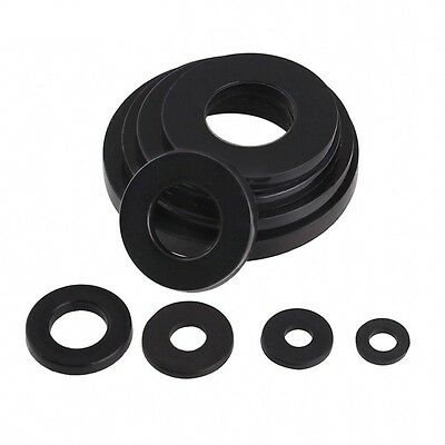 M2 M3 M4 M5 M6 M8 M10-M20 Black Nylon Flat Washers to fit Metric Bolts & Screws