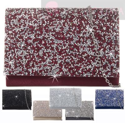 Ladies New Glitter Beaded Flap Party Prom Evening Clutch Handbag Purse Zr15831