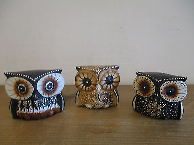 FAIR TRADE Set of Three Handcarved Painted Wooden Owl Small