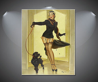Elvgren Gillette Pin Up Girl Walking Poodle Vintage Poster -A1, A2, A3, A4 sizes