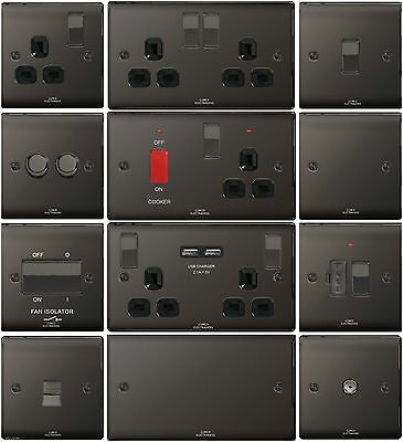 British General Black Nickel Flat Plate Light Switches & Plug Socket Slim Palte