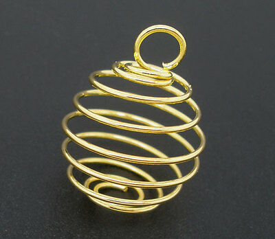 2 Gold plated Spiral Bead Cages for Crystals 27mm x 20mm
