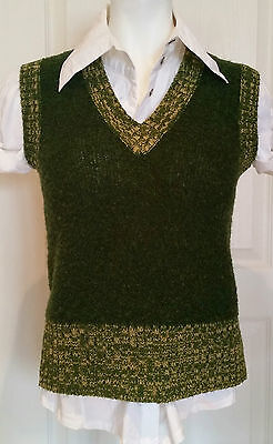 Vintage Boucle Knit Sweater Vest ~ Hipster Nerd ~ Preppy ~ Campus ~ Green Small