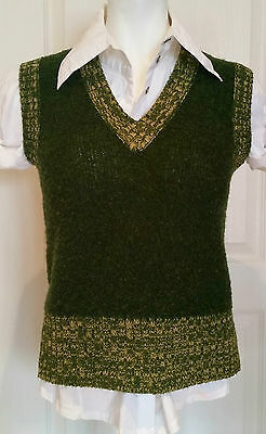 Vintage Small Boucle Knit Sweater Vest Green Layering Hipster Nerd Preppy Campus