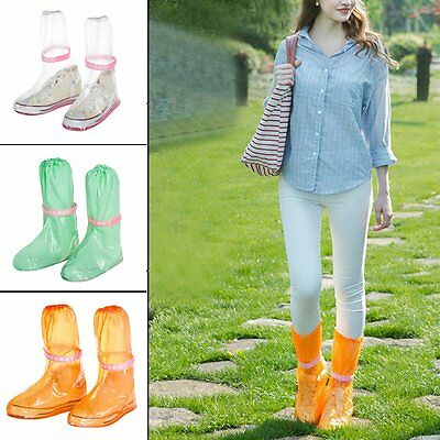Women Reusable Waterproof Rain Shoes Cover Anti-Slip Shoe Covers PVC Overshoes