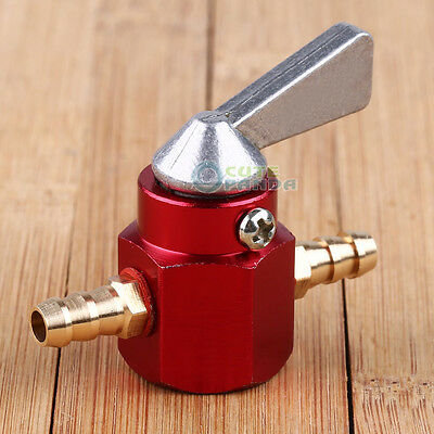 6mm Motorcycle  Bike PIT Scooter In-line Petrol On-off Fuel  Tap Switch Red New
