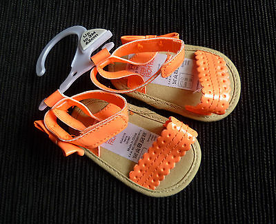 Baby clothes GIRL 0-3m F&F peach shiny ankle strap easyfix sandals  NEW SEE SHOP