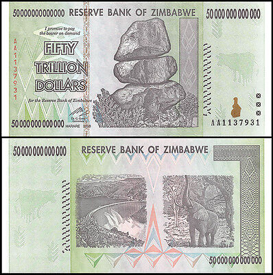 Zimbabwe 50 Trillion Dollars, AA/2008, P-90, Circulated,Used,100 Trillion Series