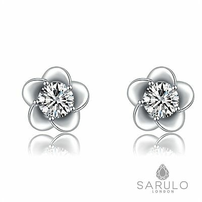 White Flower Stud Earrings Sarulo 925 Sterling Silver Jewelry New Box Womens Hot
