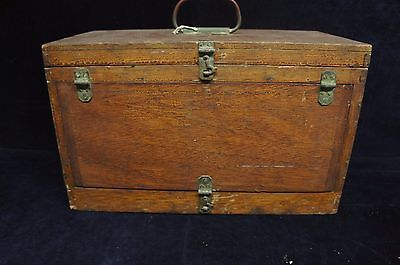 "Antique Wood Traveling Medical Shadow Box Case Tool Chest Instrument 16"" Rare"