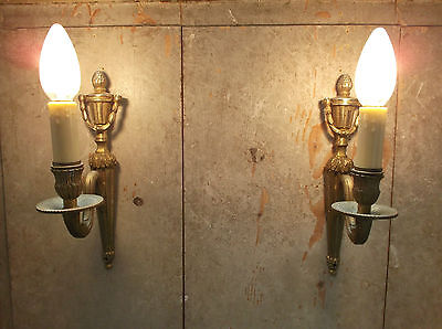 French a pair of patina gold bronze wall light sconces exquisite  vintage