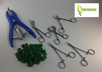 Tail Docking Dewclaw Removal Kit for Newborn Puppies Kittens Elastrator + Bands