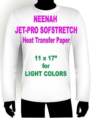 "JET PRO SOFSTRETCH INKJET HEAT IRON ON TRANSFER PAPER 11 x 17"" - 20 SHEETS"