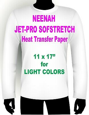 "JET PRO SOFSTRETCH INKJET HEAT IRON ON TRANSFER PAPER 11 x 17"" - 10 SHEETS"