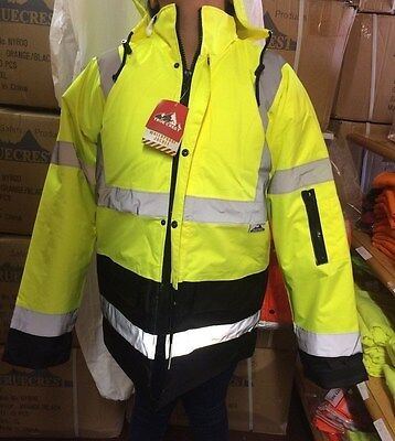 High Visibility Class 3 Water Proof Lime/Black Parka Jacket w/hood