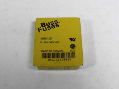 Bussman AGC-15 Glass Fuse 15A 250V Pack of 5 pcs  NEW