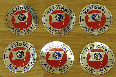 Vintage National Airlines Baggage Sticker 1950s lot 6 sticker 3 inches