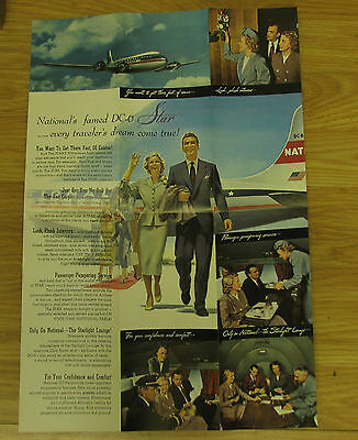 NATIONAL AIRLINES BROCHURE 1950 Presents the star DC-6 luxury plus