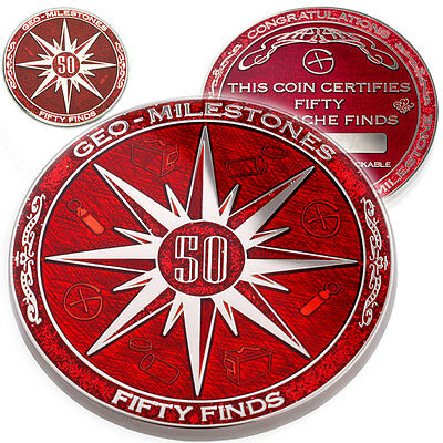 50 Finds Geo-Milestones Geocoin And Pin Set - Award Your Geocaching Success