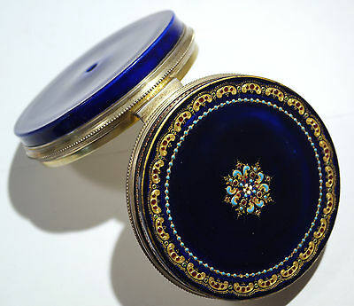 French Sevres Cobalt Blue Gilt Jeweled Porcelain Box Sterling Silver Hinge 1890s