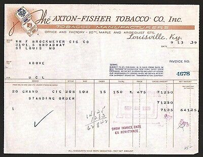 Axton Fisher Tobacco Co Louisville Ky 1939 Vintage Letterhead Rare Spud