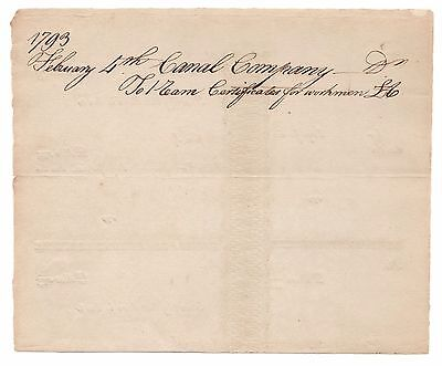 1793, February 4th, Canal Company Workmen Payment Certificates, Blank