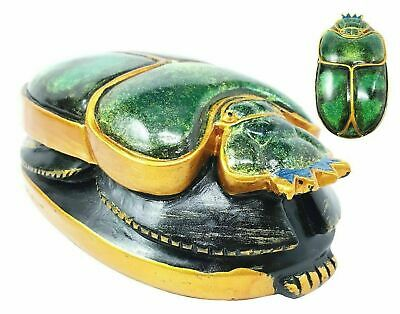 "Ancient Egyptian Green Scarab Amulet 4""L Small Figurine Collectible Sculpture"