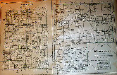 Worcester & Whitpain Twp. Montgomery County Pa 1893 Color Map Bluebell Centre Sq