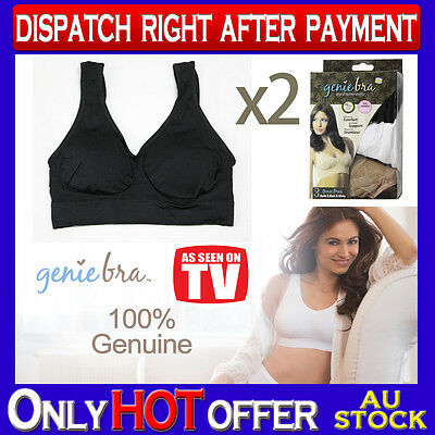 TWO Genuine Genie Bra Comfort Support Seamless S M L XL XXL XXXL Black