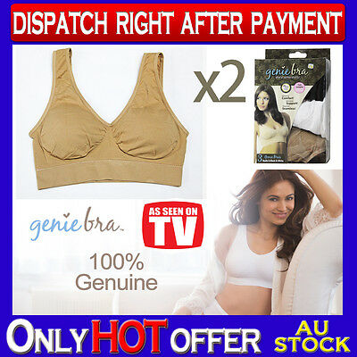 TWO Genuine Genie Bra Comfort Support Seamless S M L XL XXL XXXL Beige