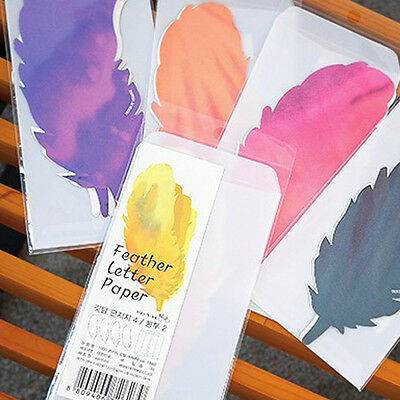 1set Beautiful Birds Feather Letter - 4sh Writing Stationery Paper 2sh Envelope