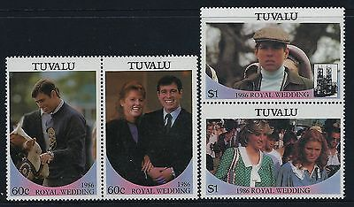 1986 TUVALU SARAH & PRINCE ANDREW ROYAL WEDDING SET OF 4 MINT MNH 1st ISSUE