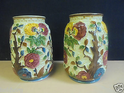 Hj Wood Pair Indian Tree Pottery Vases Model Number 575