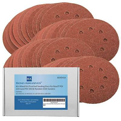 40 x Assorted Sanding Discs For Bosch PEX 220/300 Random Orbital Sander 125mm