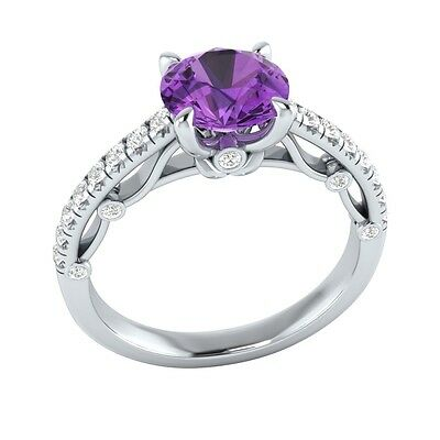 1.30 ct Natural Amethyst & Certified Diamond Solid Gold wedding Engagement Ring