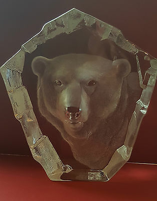Mats Jonasson Large Polar Bear  Crystal Signed Paperweight  No. 3361