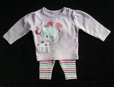 Baby clothes GIRL 0-3m Little Deer appliqued pink top/stripe leggings SEE SHOP!
