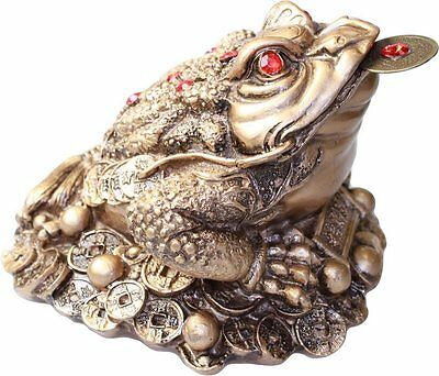 Fat Chinese 3-Legged Money Toad (Frog) on Coins - Wealth, Feng Shui 9cm