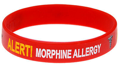 Morphine Allergy Red Silicone Wristband Medical Alert ID Bracelet Mediband