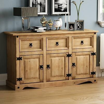 Corona 3 Door 3 Drawer Sideboard Solid Pine Mexican Cupboard By Home Discount