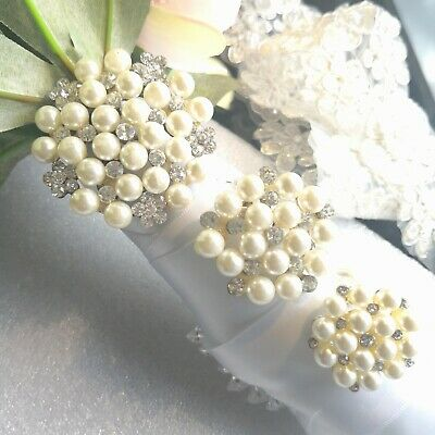 Beautiful Diamante Brooch With Pearl For Invitation Or Gift