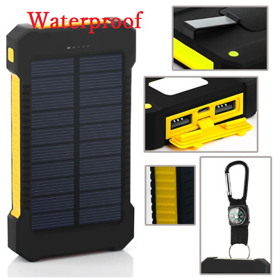 POWERNEWS 900000mAh 2 USB Portable Battery Charger Solar Power Bank Black Yellow