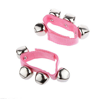 1 Pair Pink Activity Wrist Hand Shake Bells Ring Baby Toys Kids Bell Rattle