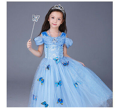 Kids Girl Pirncess Cinderella Sandy Princess Party Dress with butterfly 4-9T