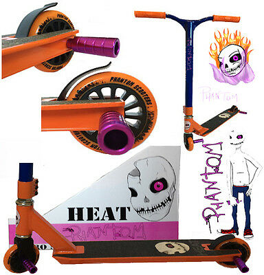 PHANTOM FIXED BAR 360 DEGREE  PRO STUNT SCOOTER  Now with Purple Pegs