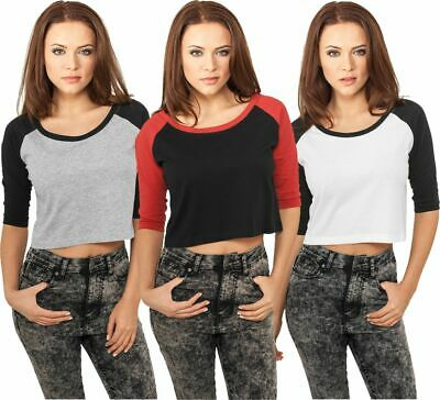 Urban Classics Ladies Cropped 3/4 Arm Raglan Tee Damen Top Bauchfrei