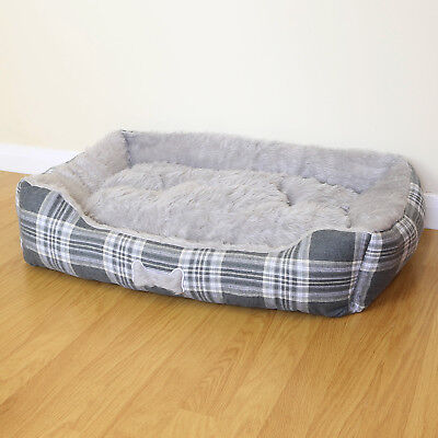 Large Grey Check Super Soft Luxury Dog/Puppy/Cat Pet Bed Cushion Fur/Fleece L