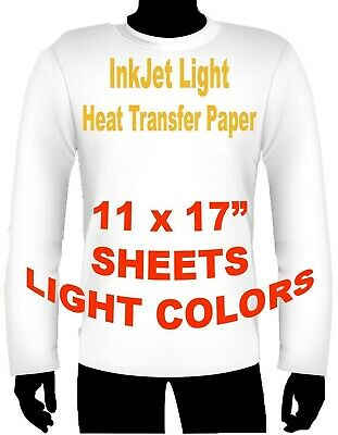 "Ink Jet Heat Iron On Transfer Paper Light 11 X 17"" -5 Sheets"