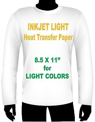 Ink Jet Heat Iron On Transfer Paper Light 8.5 X 11 -3 Sheets